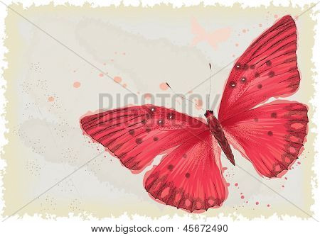Background with red butterfly in watercolor technique. All objects are isolated. Butterfly is on a separate layer