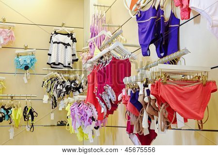 Swim suits department in clothing store