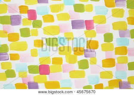Pared blanca con muchas pinceladas multicolor en la habitación de los niños.
