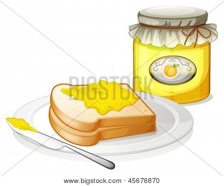 Illustration of a lemon jam with bread on a white background