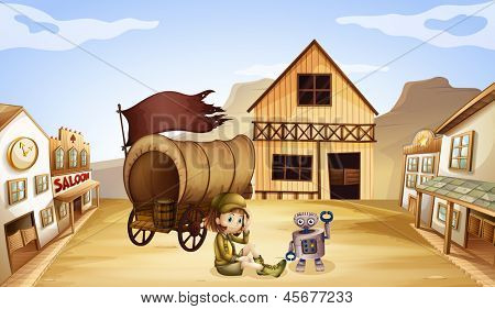 Illustration of a robot and a girl beside a wagon
