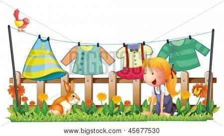Illustration of a girl playing with the bunny at the garden with clothes on a white background