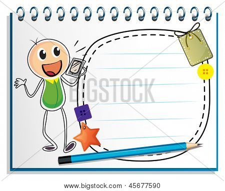 Illustration of a notebook with a drawing of a boy holding a radio on a white background