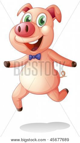 Illustration of a smiling fat pig on a white background