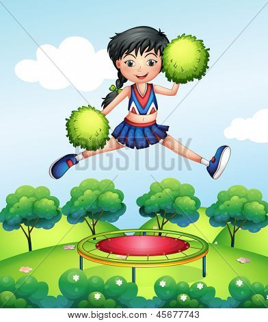 Illustration of a cheerleader jumping with her green pompoms above a trampoline