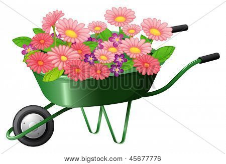 Illustration of a construction cart with lots of flowers on a white background
