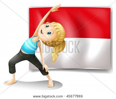 Ilustración de una chica haciendo su ejercicio frente a la bandera Indonesia sobre un fondo blanco