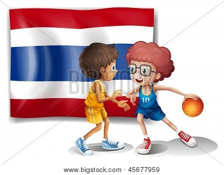 Illustration of the two boys playing basketball in front of the Thailand flag on a white background