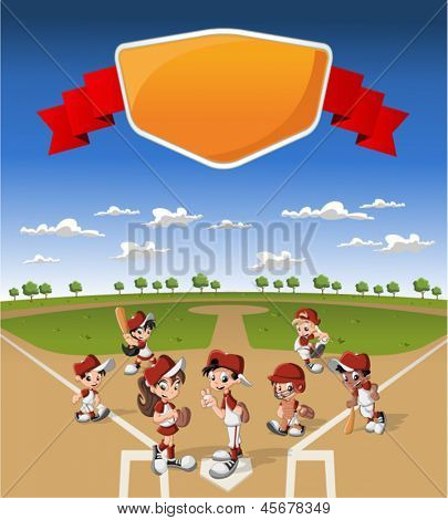 Team of cartoon children wearing uniform playing baseball on green field