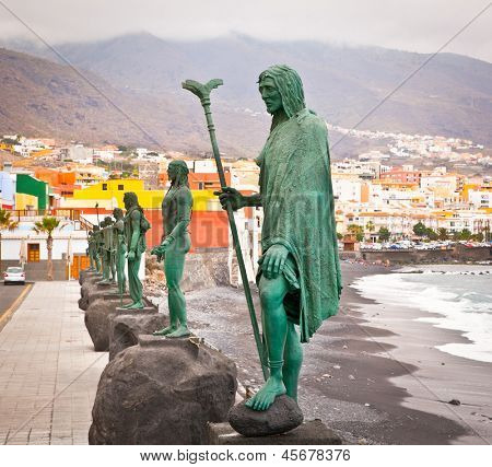 Guanches indians statues located at Plaza de la Patrona de Canarias at Candelaria, Tenerife, Canarian Island, Spain.