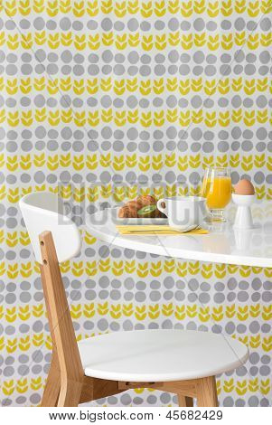 Modern Table And Chair On Bright Background