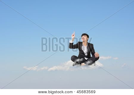 Asian business man sit on cloud over sky and get an idea, cloud concept for business, creative, technology, social network etc.