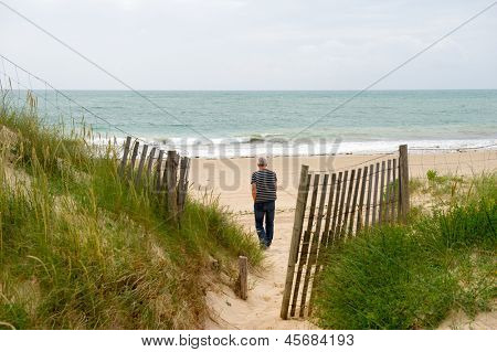 man at the beach at island Oleron