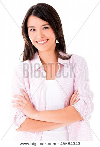 Beautiful casual woman smiling - isolated over white background