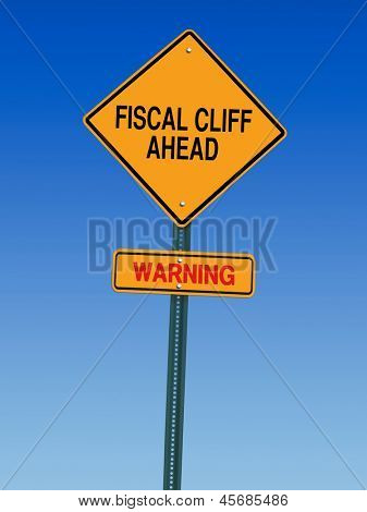 fiscal cliff ahead warning direction road sign