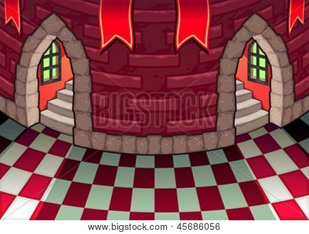 Inside the castle. Cartoon and vector illustration.