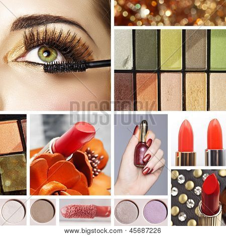 Makeup mood board collage with warm gold eyeshadow and orange red lipsticks including closeup of womans eye with false eyelashes