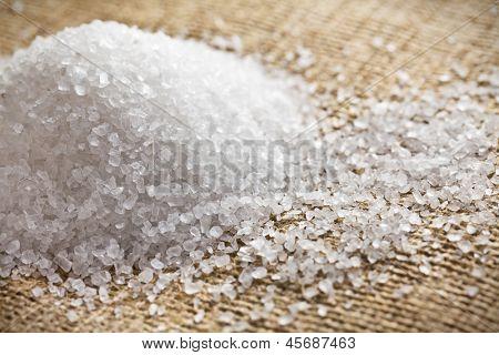 the white salt on burlap