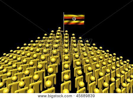 Pyramid of abstract people with Ugandan flag illustration