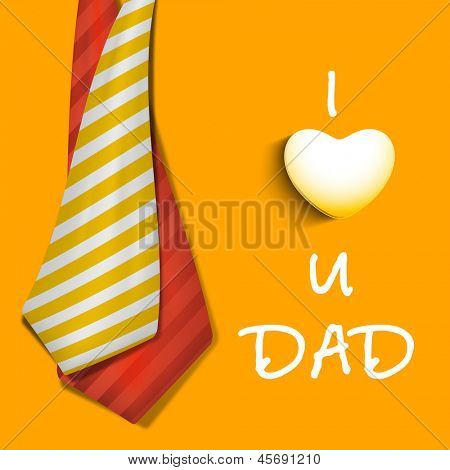 Happy Fathers Day concept banner, flyer or poster design with neckties and text I Love You Dad on yellow background.