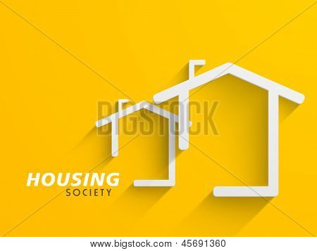 Conceptional architectural residential designing concept on yellow background.