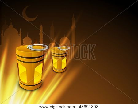 Illuminated Intricate Arabic lamps and lights on silhouette of Mosque or Masjid background concept for holy month Ramazan or Ramadan.