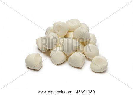 Fresh baby Mozzarella on white background