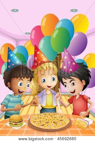 Illustration of the kids celebrating a birthday with a pizza, burger and fries