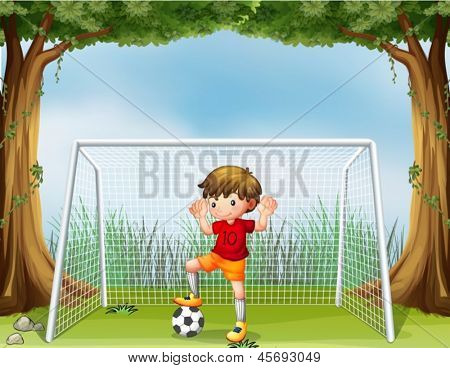 Illustration of a little soccer player in his red uniform