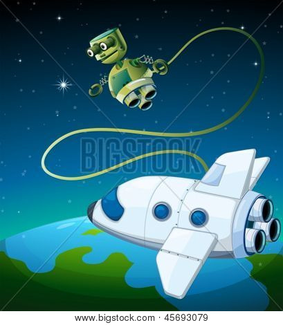 Illustration of an aircraft and a robot at the outerspace