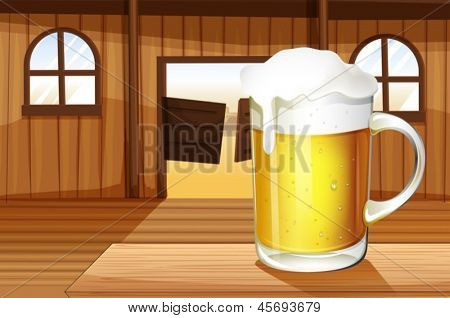 Illustration of a table with a mug full of beer