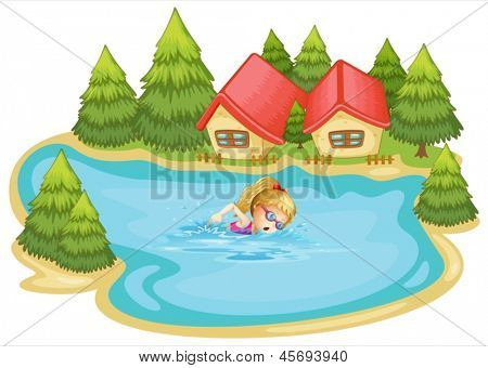 Illustration of a girl swimming near the pine trees on a white background