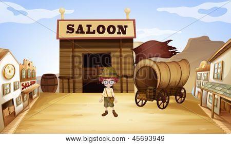 Abbildung eines jungen vor einem Saloon-bar