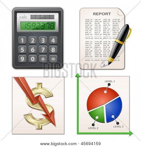 Finanzbericht Set. Taschenrechner, Kugelschreiber, Diagramm und Finanzbericht