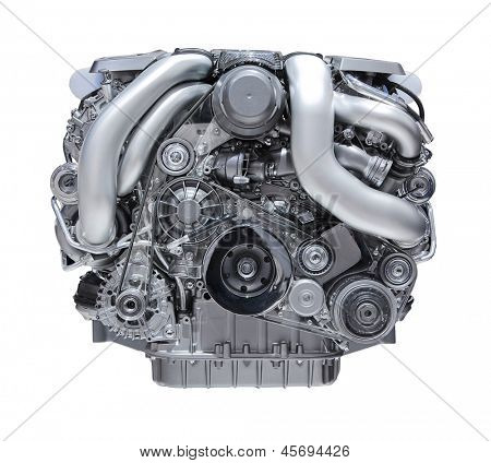 modern car engine isolated on white background.