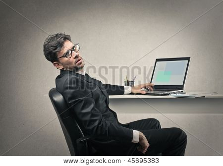 tired businessman working hard