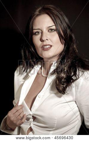 fine sexy secretary with white shirt