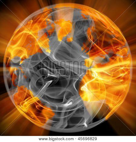 globo del mundo en el fuego