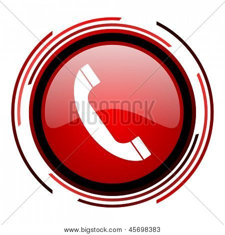 phone red circle web glossy icon on white background