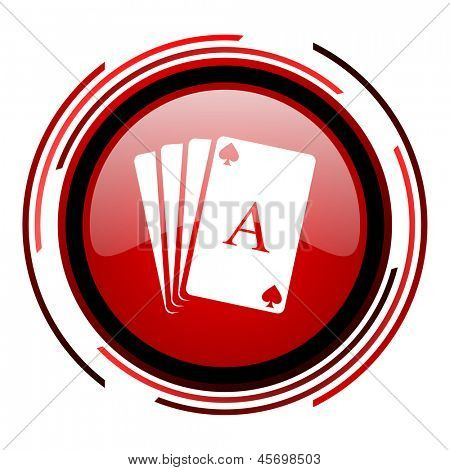 playing cards red circle web glossy icon on white background