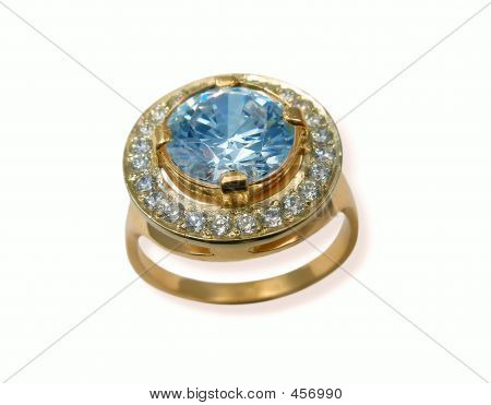 Jewelry Golden Ring With Sapphire