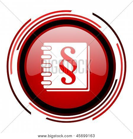 law red circle web glossy icon on white background