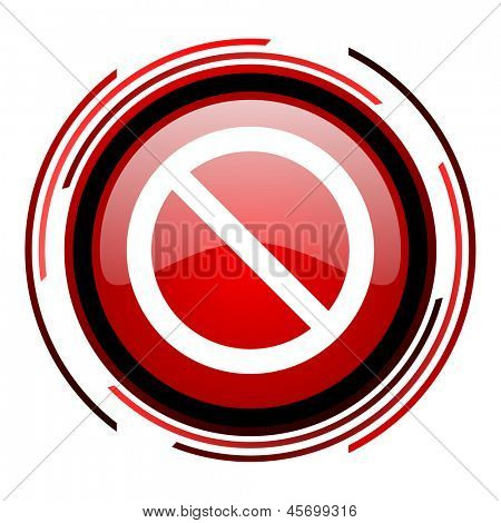 access denied red circle web glossy icon on white background