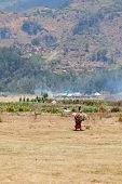 picture of farmworker  - Old female farm worker carries firewood with agriculture and mountains on background - JPG