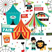 stock photo of tent  - Seamless kids circus fun fair illustration fabric background pattern in vector - JPG