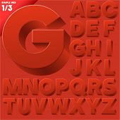 Vector alphabet of simple 3d letters. Sans bold. Upper cases Red
