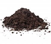 stock photo of humus  - Pile heap of soil humus isolated on white background - JPG