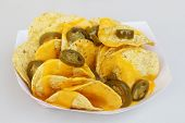 stock photo of jalapeno peppers  - Nacho chips - JPG