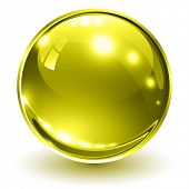 3D glass sphere gold, vector illustration.