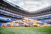 MADRID - MARCH 8: Lighting system for growing grass  in Santiago Bernabeu stadium, March 8, 2012 in